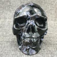2.2LB+ Natural gabbro jasper Quartz Skull Hand Carved Crystal Healing 1PC