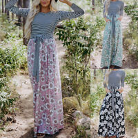 Women Striped Floral Long Shift  Dresses Long Sleeve Party Beach Casual Sundress