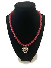 Necklace 18� With Silver Drop Pendant Artisn Handmade Deep Red Agate Beaded