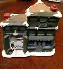 Christmas House Village Chalkware Plastr 80-90s HandPainted Service Station Gas