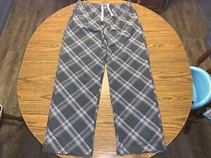 Psycho Bunny 100% Cotton Plaid Woven Lounge Pants Size Large Grey/Purple/White