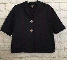 J Jill Women's Jacket Size Medium Navy Blue Button Down Peacoat Coat    W044