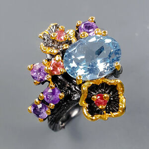 Fine Art Jewelry Blue Topaz Ring Silver 925 Sterling  Size 6.5 /R177759