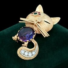 Antique Vintage Deco Retro 14k Gold Corundum Sapphire Emerald Cat Pin Brooch