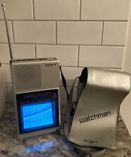 Vintage SONY WATCHMAN Portable Handheld Flat B & W TV Model FD-40A TESTED
