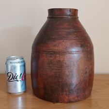 More details for large rustic wooden water / milk urn / pot  -  10 inches tall.