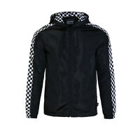 Men's Cool Check Hooded Lightweight Windbreaker Zip up Outdoor Jacket Black