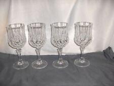"4 Vintage Cristal d'Arques Longchamps 6.50"" Water Goblets Lead Crystal NICE"