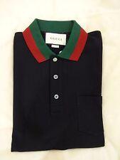 Camisa polo Cuello web de Gucci-Negro Tamaño Medio * Bnwt * - Auténtico con recibo