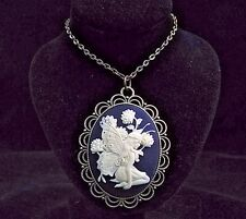 "24"" Vintage Style Filigree Garden Fairy Cameo Pendant Necklace"