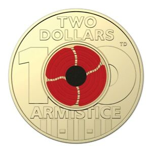 🥇2018 Australian Two Dollar $2 coin - ARMISTICE RED POPPY💰Remembrance Day UNC