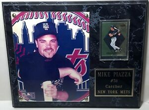 1999 NY Met 'Mike Piazza' plaque marbelized look wood