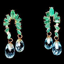 NATURAL SKY BLUE TOPAZ & GREEN EMERALD STERLING 925 SILVER EARRINGS