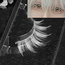 TH_ BU_ HK- White Eyelashes Cosplay Makeup Natural Long Cross Strip False Eye La
