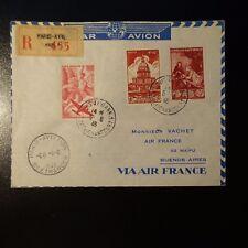 AVIATION LETTRE COVER VOYAGE D'ÉTUDES PARIS BUENOS AIRES ARGENTINE 1946