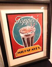 Retro DINER art sign, framed  - Milkshakes