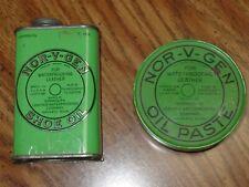 Set of 2 Vintage Nor-V-Gen Shoe Oil Paste & Shoe Oil Polish Tins Cans