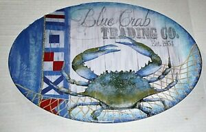 "COASTAL MELAMINE WARE PLATTER 20"" X 14"" BLUE CRAB TRADING CO. Est. 1954"
