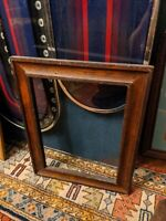LARGE ANTIQUE SOLID WOOD PICTURE FRAME 18thC 12x16.5/21x17 PAINTING MIRROR OLD