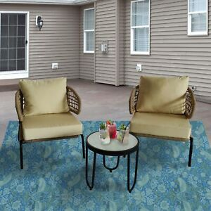 ALEKO Woven Rope 3-Piece Outdoor Bistro Patio Furniture Chat Chair Coffee Set
