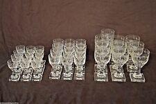 Rare set 34 antique Georgian crystal wine glasses quality engraved Empire 1800's