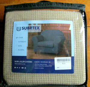 Subrtex Stretch Textured Chair Cover Seat Cushion Slipcover Armchair Tan Base