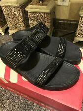 FitFlop Style 300 094 Wedge Women's FLARE Slide Sandal Black, Rhinestone Size 10