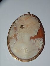 Of Woman with diamond Italy 2 5/8 Vintage Large 14K Gold Shell Cameo pin pendant