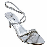 WOMENS SILVER WEDDING STRAPPY PROM BRIDESMAID DIAMANTE SANDALS SHOES SIZES 3-8