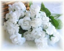 20 White Mini Open Roses Artificial Silk Wedding Flowers Table Centerpiece