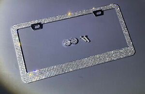 1 Lux White Diamond CRYSTAL Metal License Plate Frame Caps Made with Swarovski