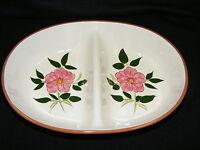 Vintage Stangl Pottery Trenton N. J.  Wild Rose Oval Divided Vegetable Bowl