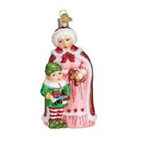 Old World Christmas Mrs Claus With Elf Glass Ornament FREE BOX 10232 New