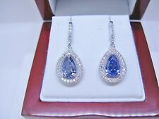 Tanzanite 2.8ct Pave W/Topaz Accent Drop/Dangle 925 Sterling Silver Earrings