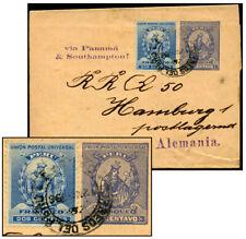 Peru 1¢ Ps Wrapper +2¢ May 1896 Via Panama Moll 1