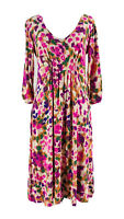 CAbi #110 Women's Pink Floral 3/4 Sleeve V-Neck Fit & Flare Dress Size Medium