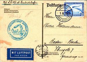 SR-402 GERMANY ZEPPELIN FLIGHT1929 POSTCARD FREDRICHSHAFEN/BADEN SCOTT C36 $100