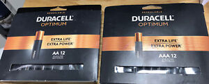 New DURACELL OPTIMUM BATTERIES AA (12PK). AAA (12PK) Total 24 Batteries
