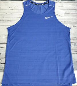 Nike Dri-fit Miler Men's Running Vest Tank Top Size Large (CU0333 430)