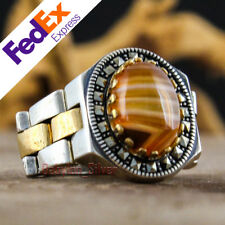 Natural Striped Agate Watch Design 925 Sterling Silver Turkish Men Ring 10.5 US