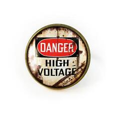 DANGER! High Voltage Vintage Industrial Metal Sign Antique Bronze Glass Ring