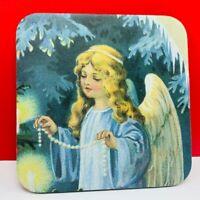 Christmas drink beer coaster vintage mcm vtg holiday Angel pearl string tree ice