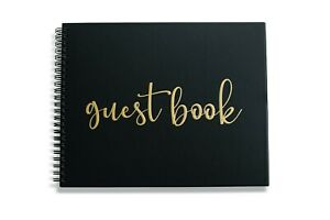 """New Wedding Guest Book Black Gold Polaroid Spiral Album Blank 80 Pages 10"""" x 8"""""""