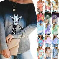 Women Tie-Dye Long Sleeve Hoodies Sweatshirt Pullover T-shirt Autumn Jumper Tops