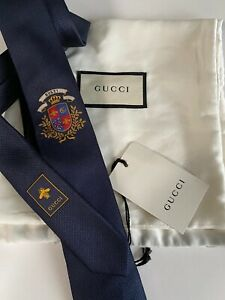 GUCCI Slim Tie Navy Blue THE LEEDS Crest Bees Snake Interlocking G's Crown Italy