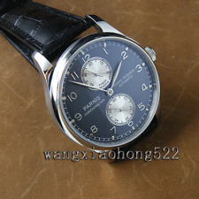 43mm Parnis Power Reserve silver hands blue dial automatic Seagull men Watch 260