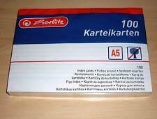100 Karteikarten Herlitz DIN A5 weiss liniert ( white m. Linien Cards Büro ) Neu