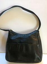 DOCKERS Beautiful Black Genuine Soft Leather Handbag Clean 8x10x3 inch 3 Zippers