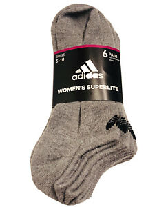 adidas Women SUPERLITE No Show Socks 6 Pack Size 5-10 Compression Climate Gray
