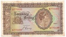 Luxembourg 1943 20 Franc Zwanzeg Frang Bank Note, Cat. 42 - P155
